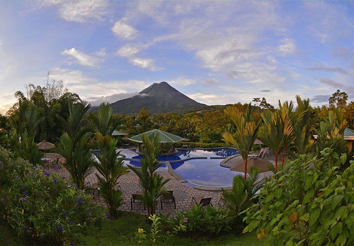 Arenal Manoa pool with volcano views