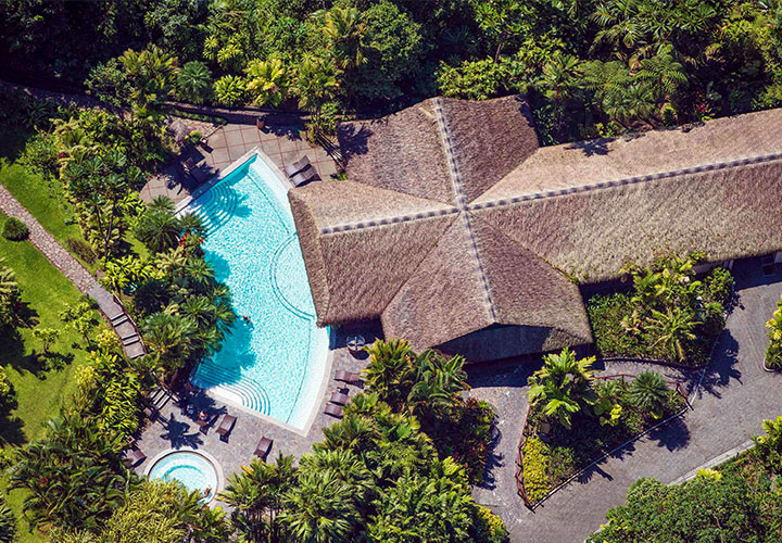 Arenal Tabacon aerial view hotel and pool