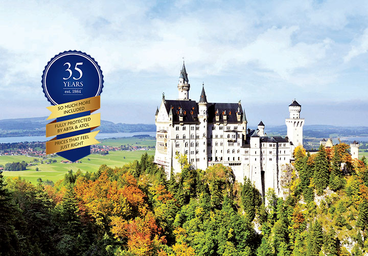 Neuschwanstein Castle surrounded by green treetops with price promise logo
