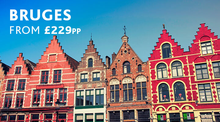 Colourful houses in Bruges | City break from £229pp