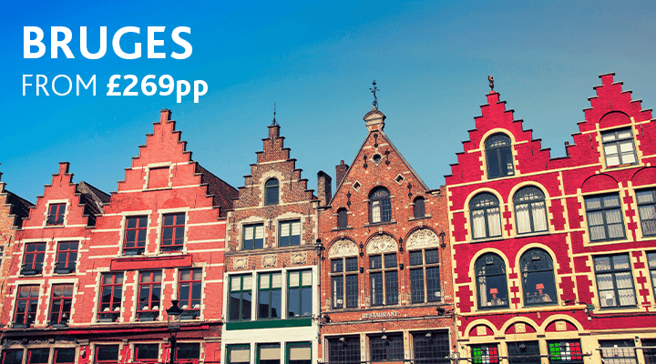 Colourful houses in Bruges | City break from £269pp
