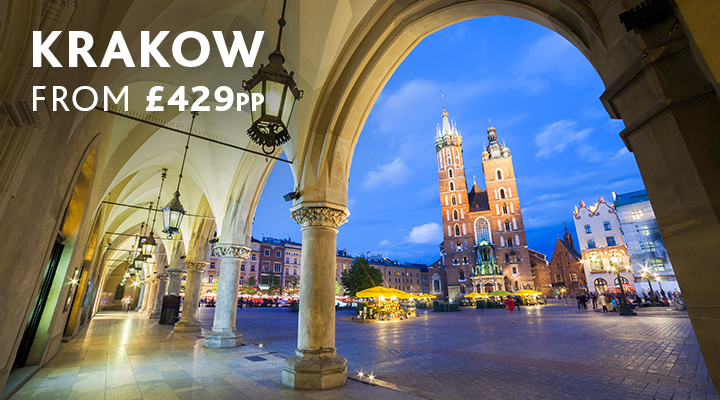 Krakow main square in evening city break from £429pp