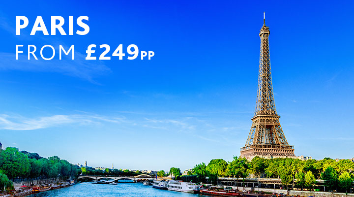 Eiffel Tower by Seine River city break from £249pp
