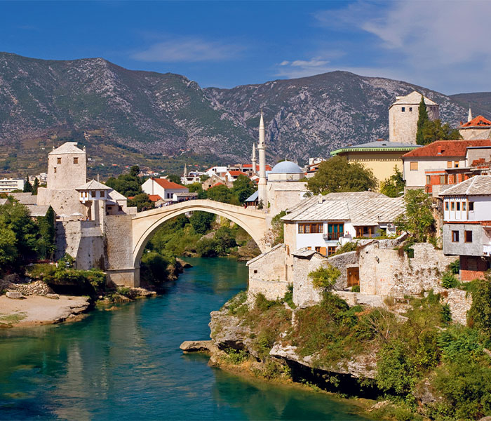 Mostar's impressive arched bridge