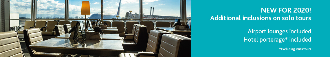 Banner showing an airport lounge with text the say that solo travellers will get an airport lounge stay as part of their tour for 2020