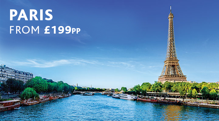 Eiffel Tower by Seine River in Paris, city break from £199pp