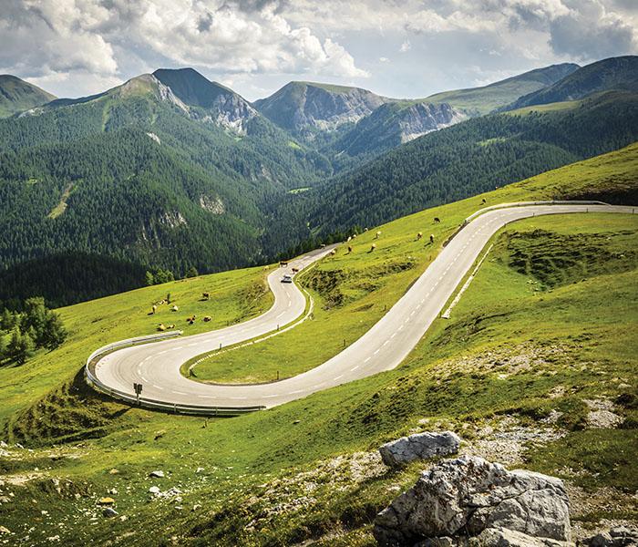 Winding road through Austrian Alps