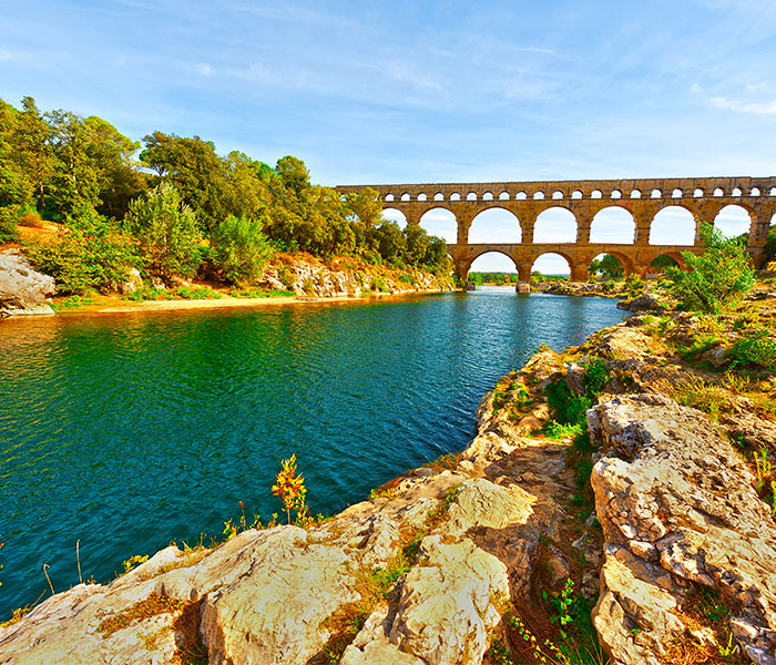 Rhone river leading to Pont d'Arc France