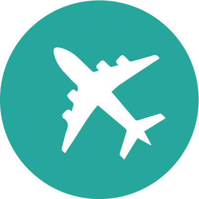 Teal flights aeroplane circle icon