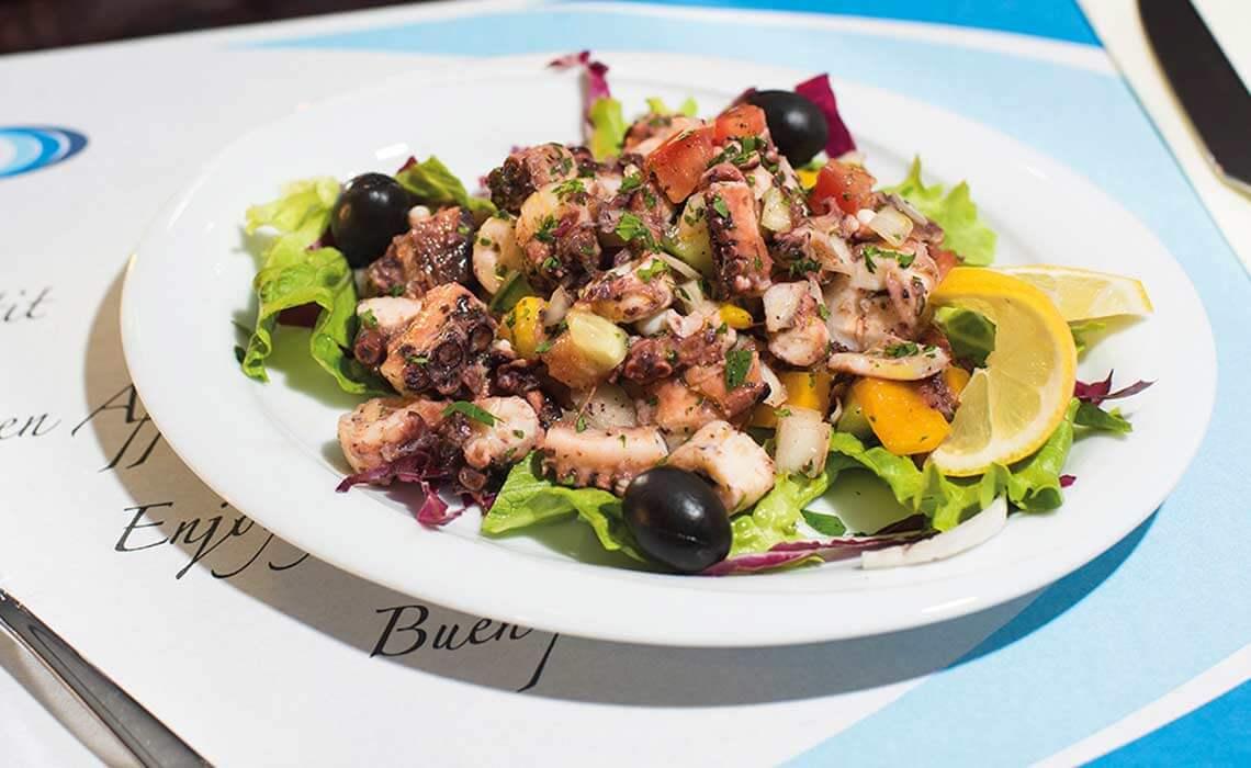 Plate of seafood salad