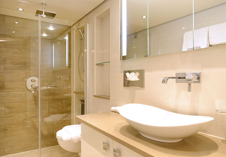 Spacious suite bathroom with large walk in shower