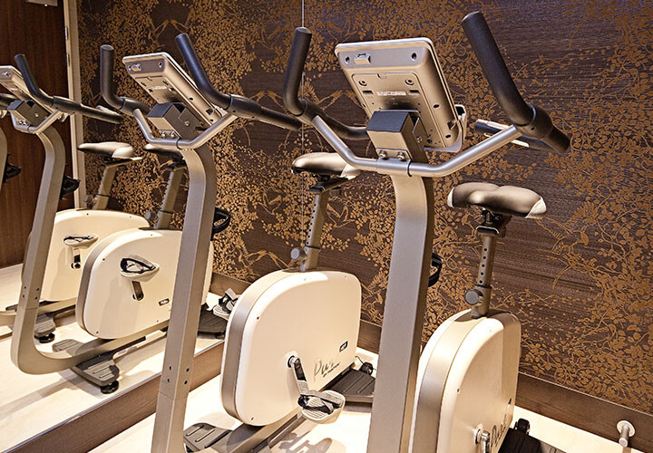 Row of brand new exercise bikes