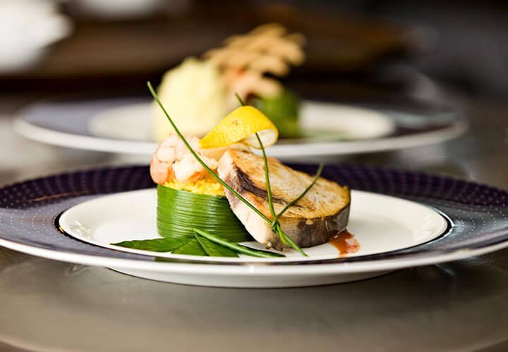Prawn cocktail and slice of aubergine