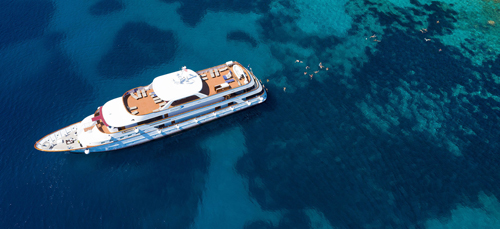 Aerial view of MS Il Mare yacht in Croatia