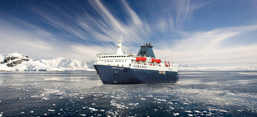 MV Ocean Atlantic expedition cruise ship in Antarctica
