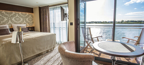 Deluxe Balcony Suite on the MS Emily Bronte