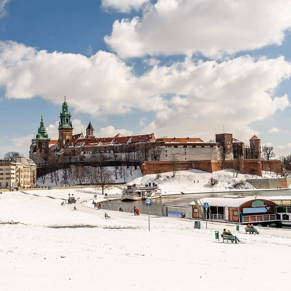 Wawel Castle in snow
