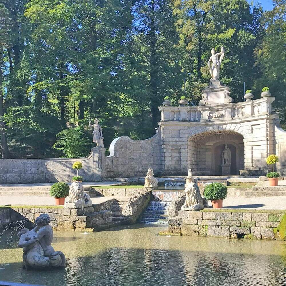 The elegant fountains of Hellbrunn Palace