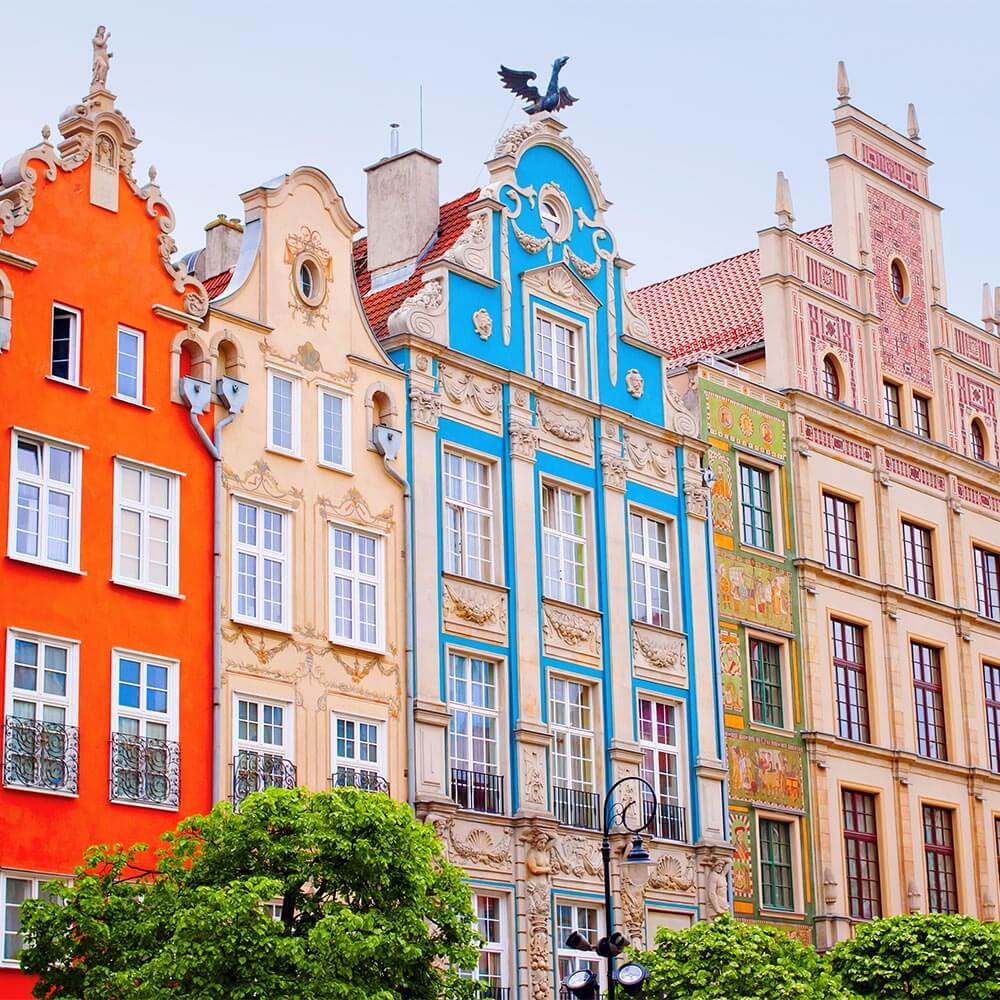 Colourful houses in Gdańsk