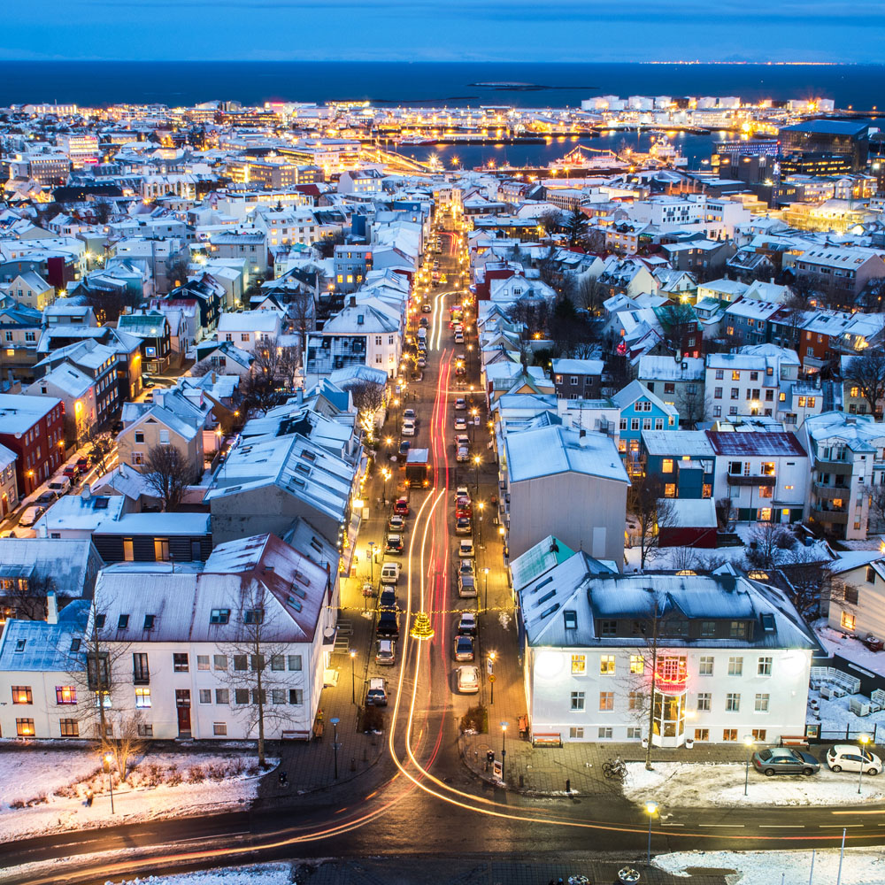 Reykjavik rooftops covered with snow