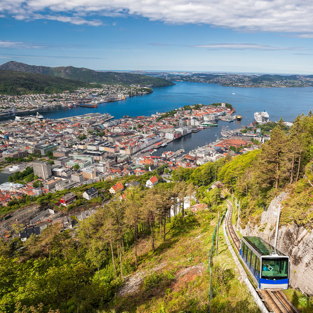 View of Bergen city with funicular