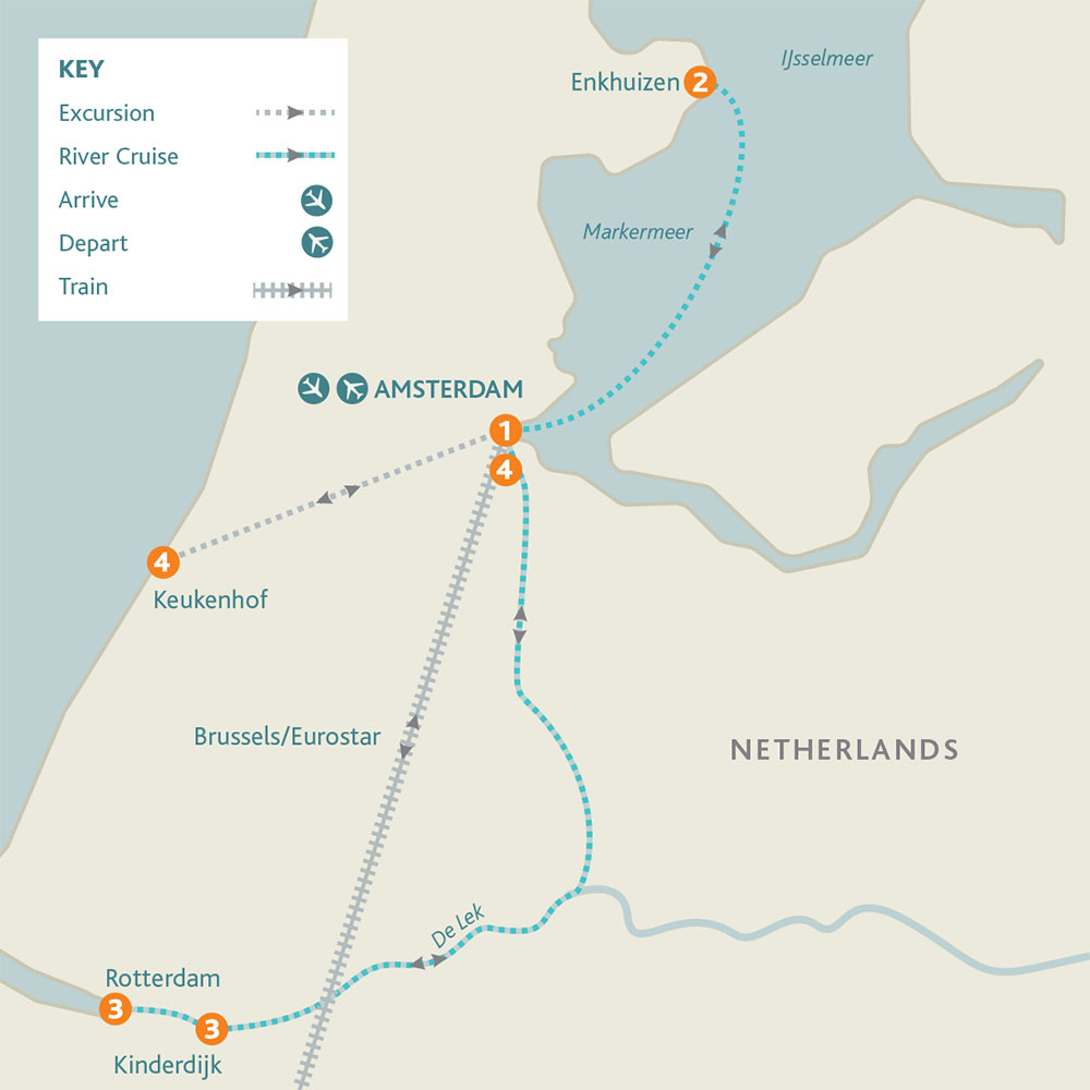 Amsterdam, Kinderdijk & the Dutch Bulbfields route Map