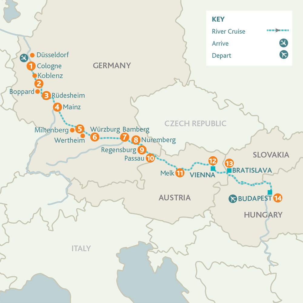 Cruise the Heart of Europe route map