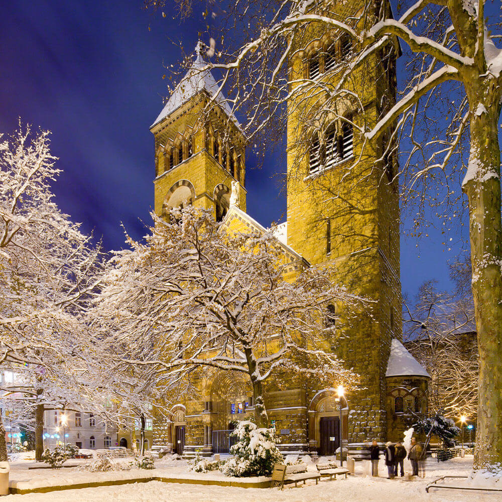St. Michael's church in the snow, Cologne