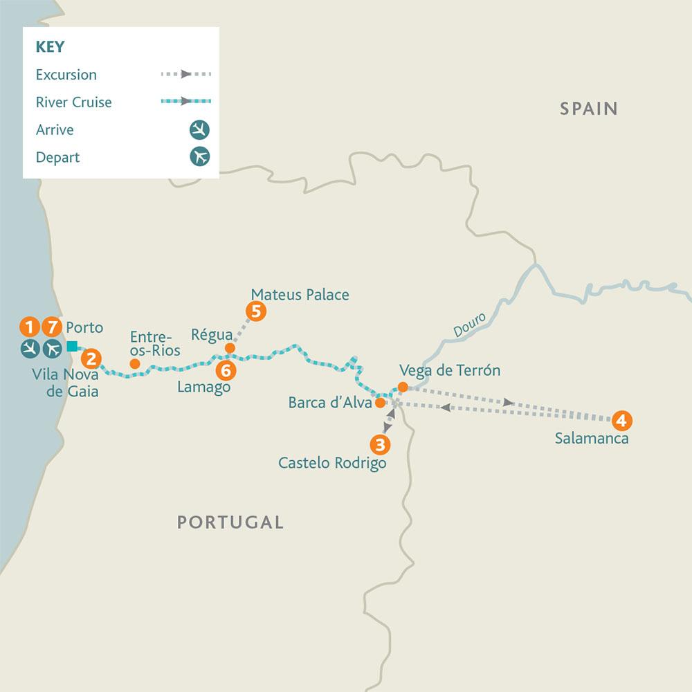 Douro, Porto & Salamanca River Cruise route map