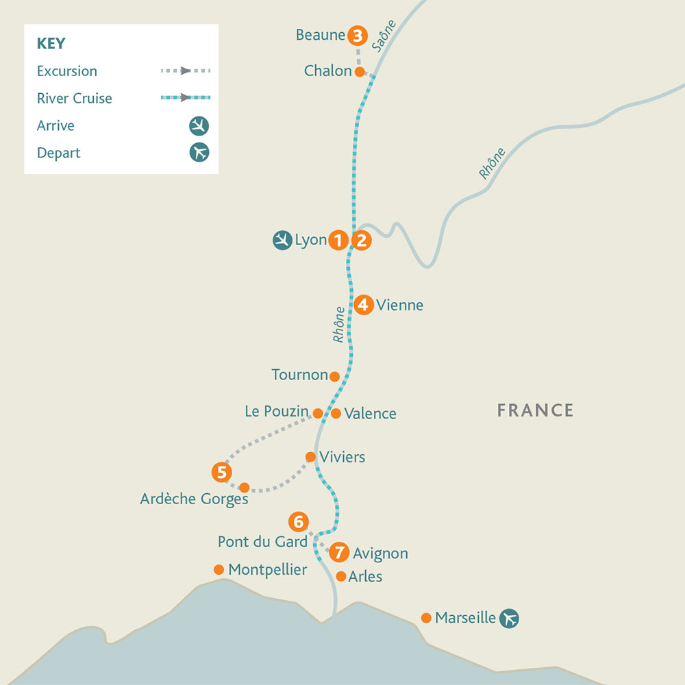 Burgundy, the River Rhône & Provence route map