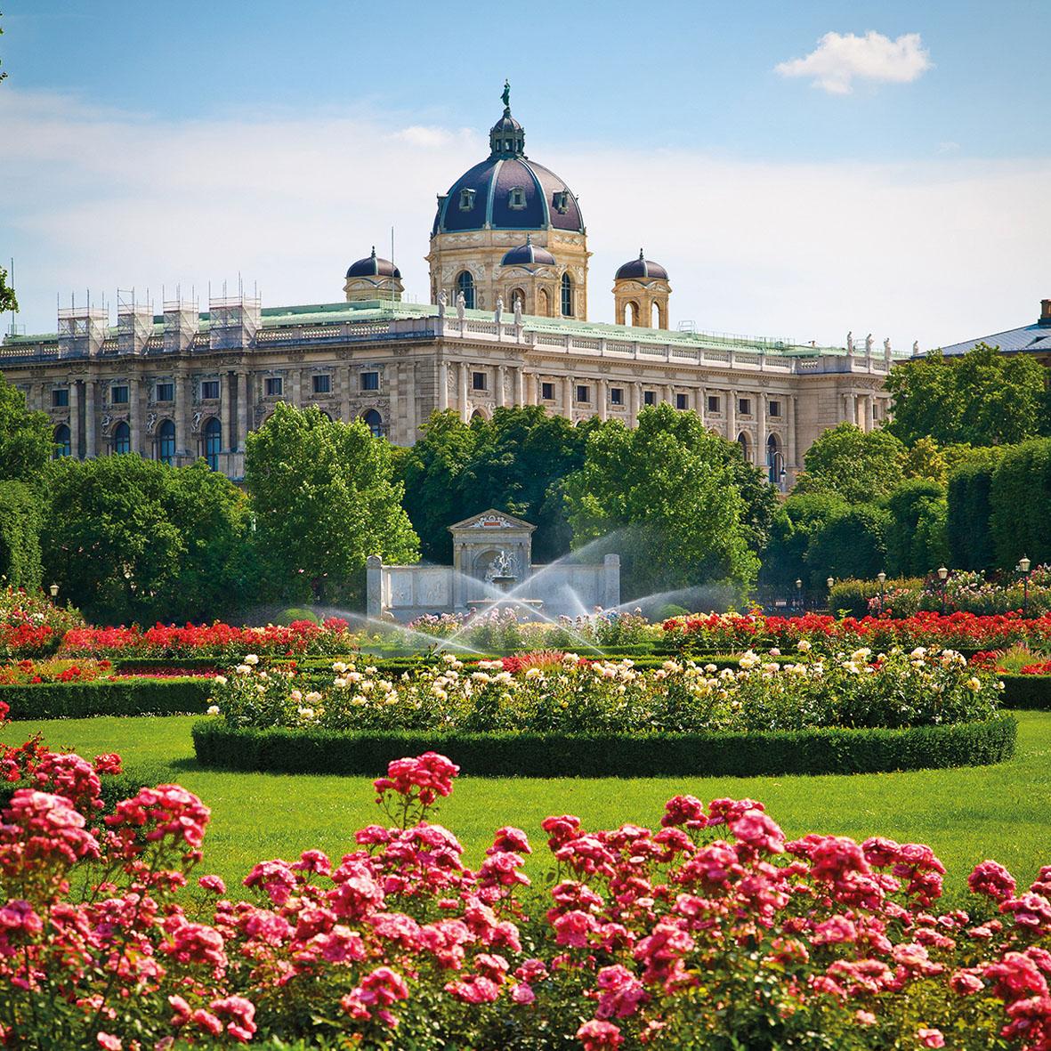 Park Volksgarten in front of Hofburg Palace, Vienna