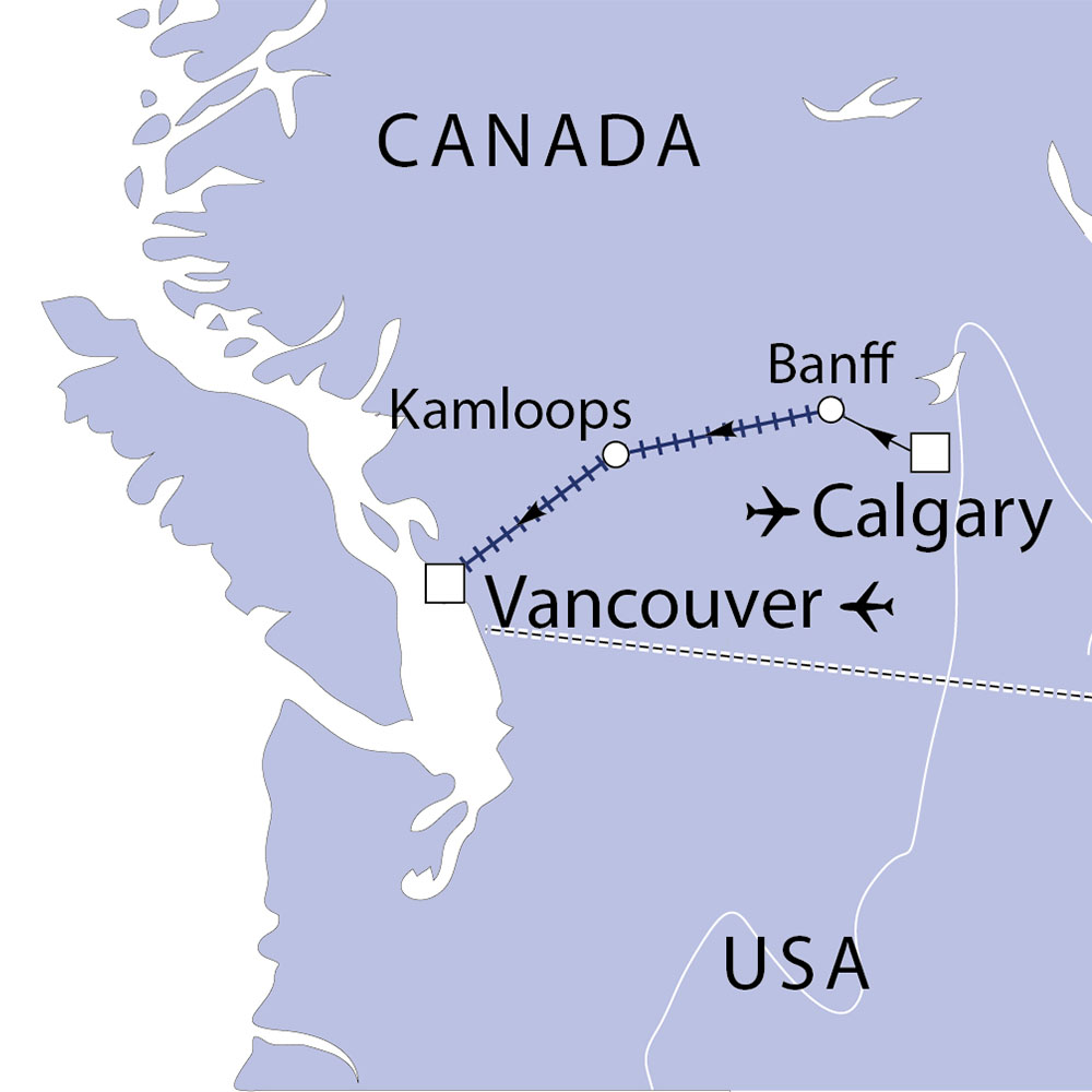 Canada's Rocky Mountaineer Tour route map