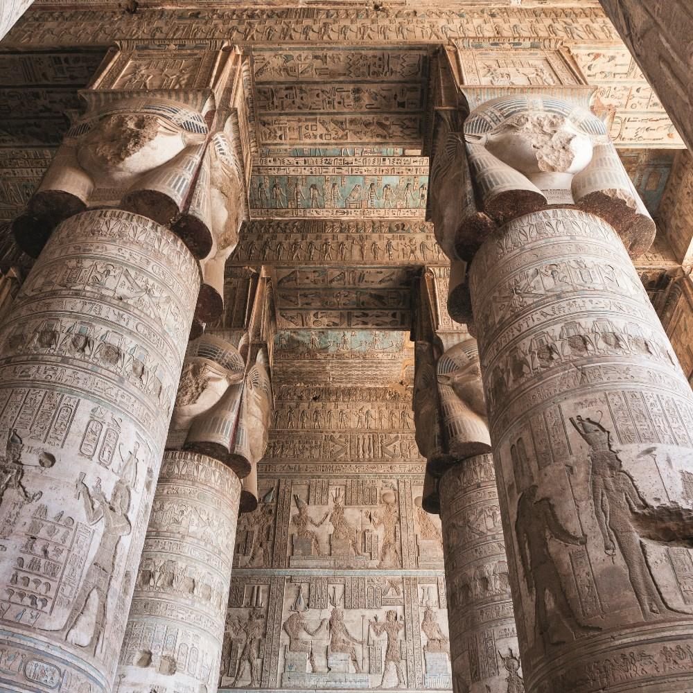 Pillars at the Dendera temple complex
