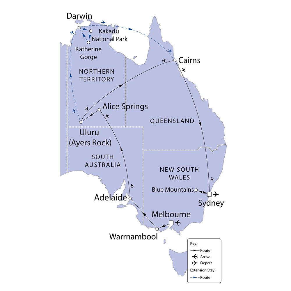 Australia with Top End Extension route map