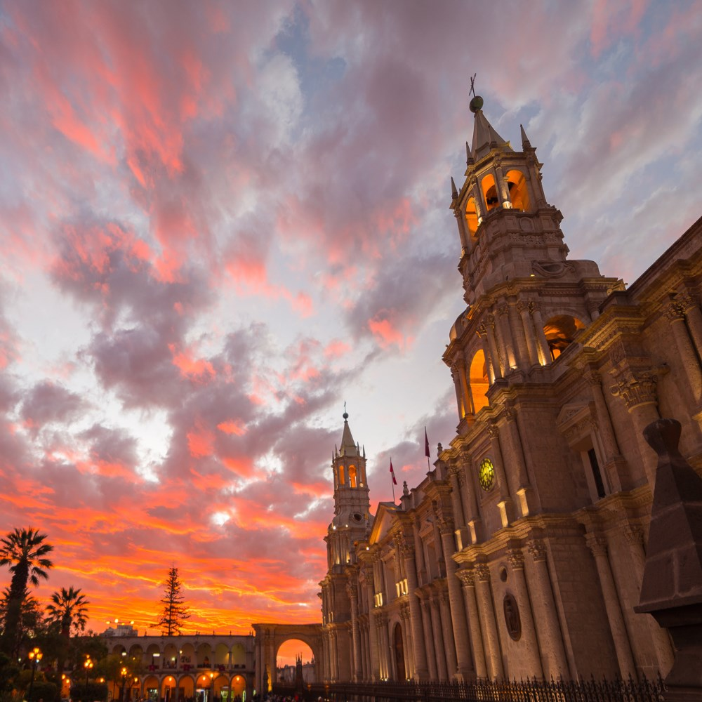 Arequipa Cathedral at dusk