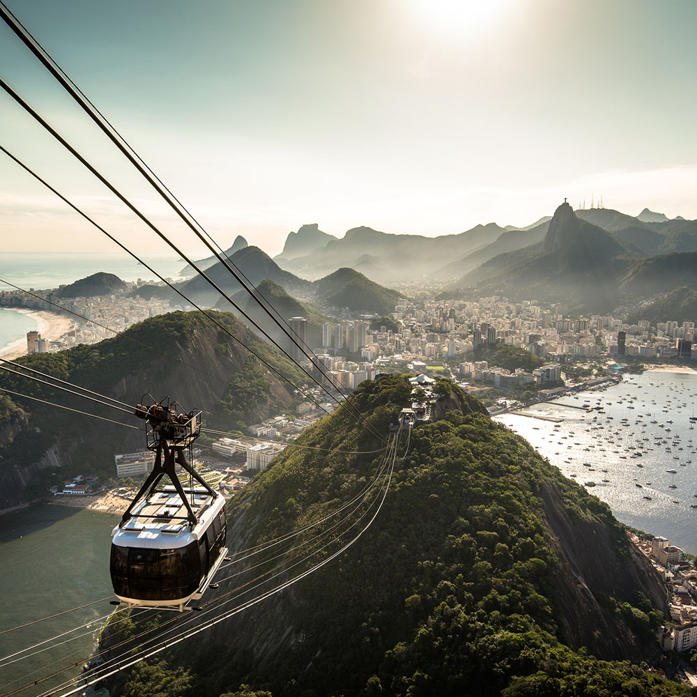 Cable car and view of Rio from Sugarloaf Mountain