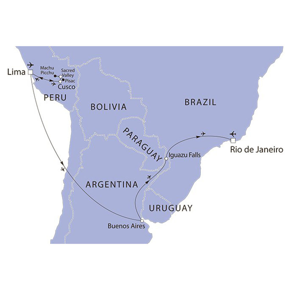 South America Highlights and Peru route map