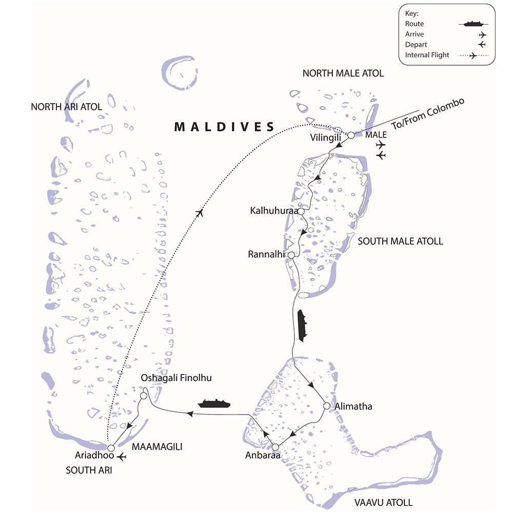 Maldives cruise route map