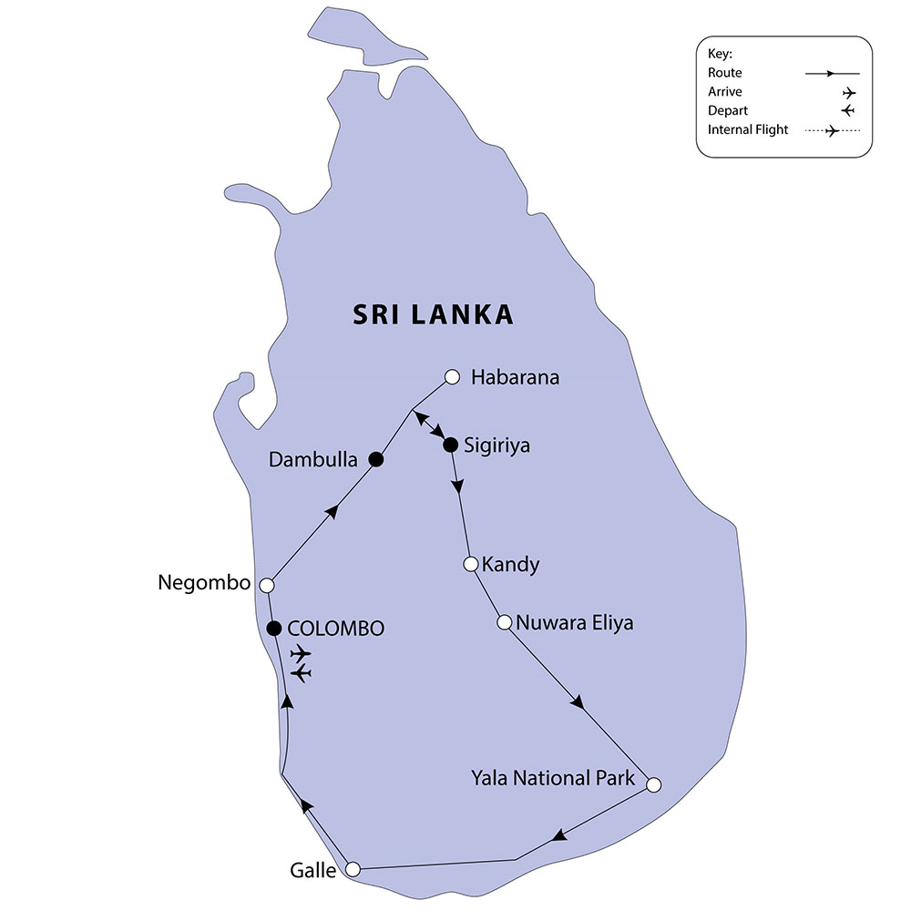 Sri Lanka tour route map (see day 11 for Maldives cruise extension route map)