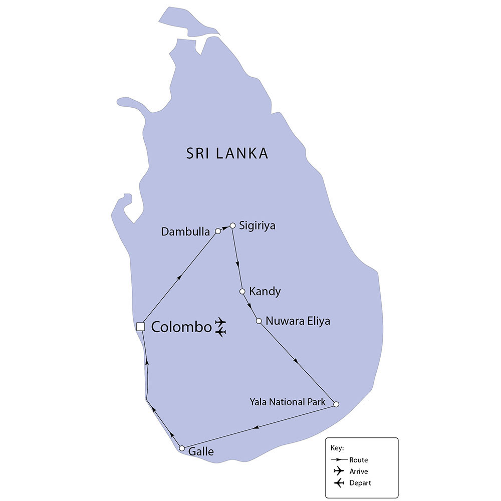 Sri Lanka tour route map