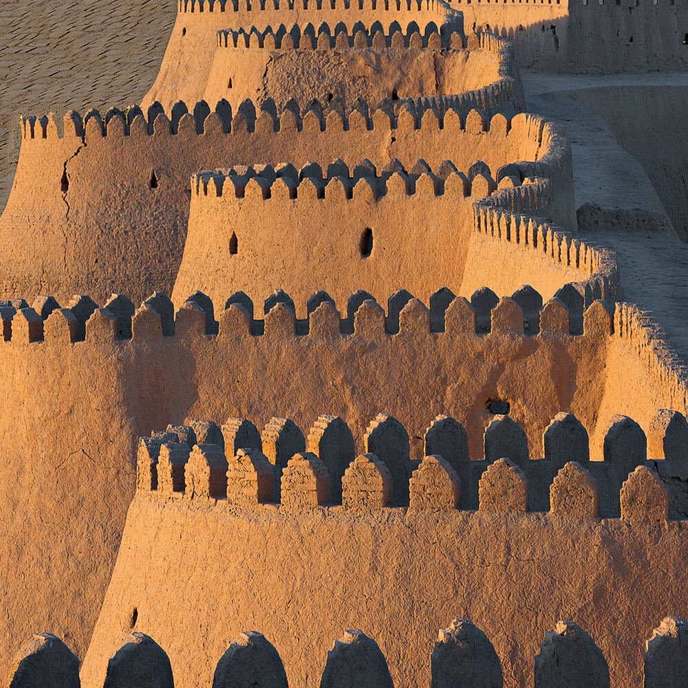 Ancient city walls of the old town of Khiva