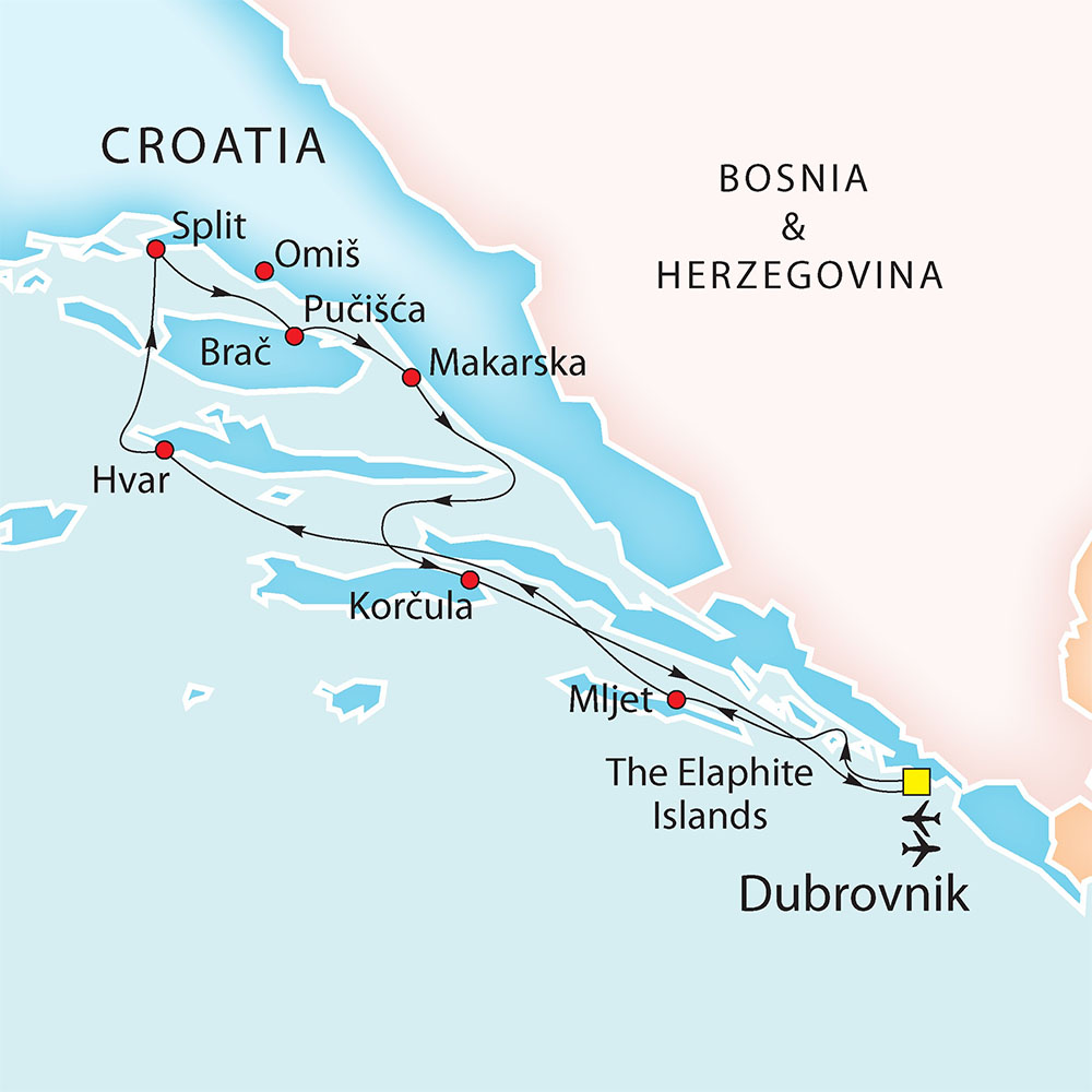 Dubrovnik - Split - Dubrovnik route map