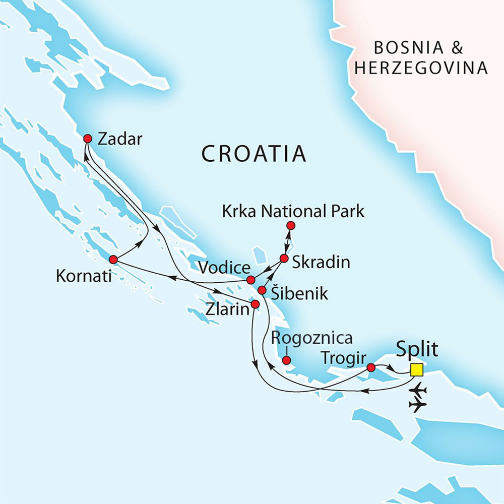 Split - Zadar - Split route map
