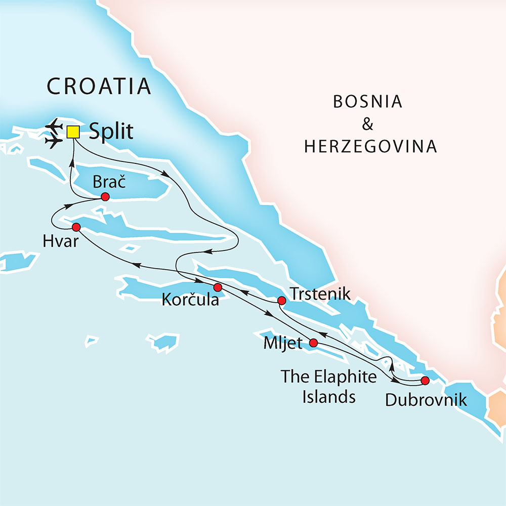 Split - Dubrovnik - Split route map